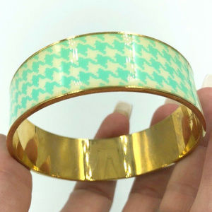 J Crew mint green houndstooth bangle bracelet gold